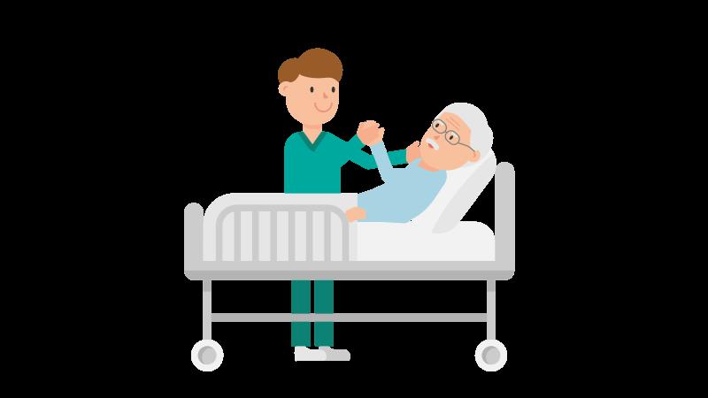 Arzt am Bett eines Patienten als Symbolbild für die Patientengeschichte von Sandro Hellinger.